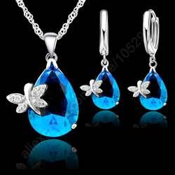 Jemmin fine капли воды австрийского хрусталя Свадебные украшения наборы для ухода за кожей для женщин 925 пробы серебряные ожерелья серьги