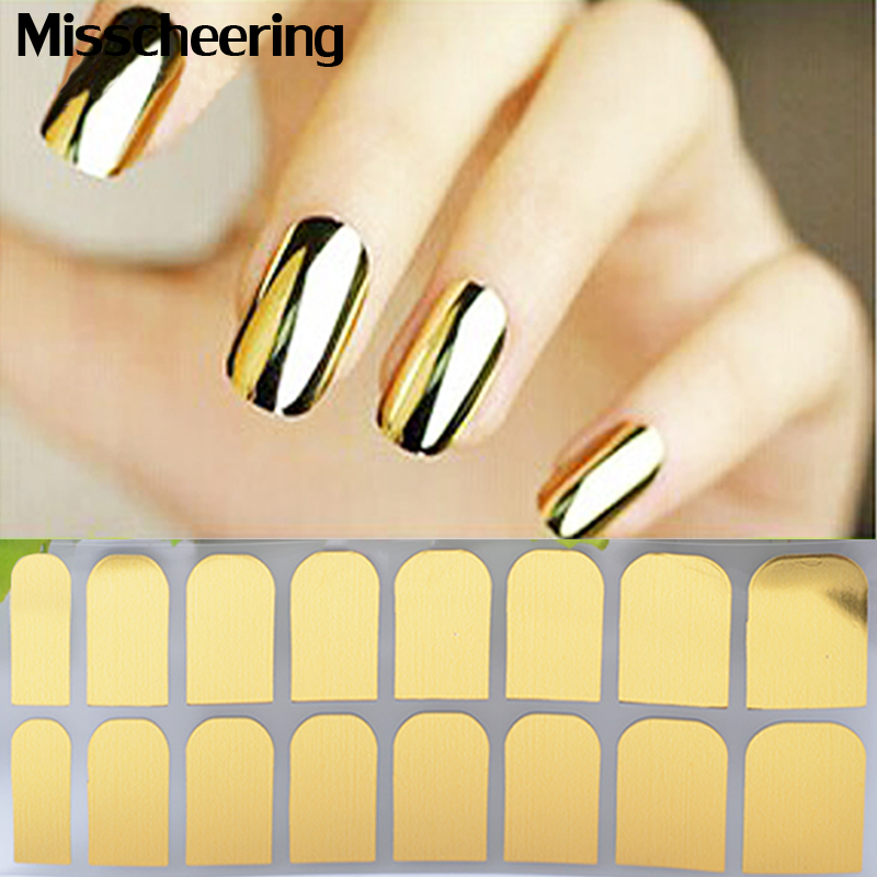 1sheet Nail Art Patch Gold Silver Black Minx Smooth Tips Decal Wraps Full Cover Designed Decoration Stickers In Decals From Beauty
