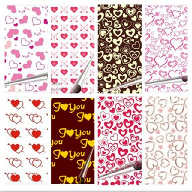 100 Sheets Valentine S Day Diy Chocolate Transfer Paper Mold