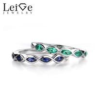 Leige Jewelry Wedding Band Women Marquise Cut Sapphire Emerald Rings for Women Silver 925 Fine Jewelry