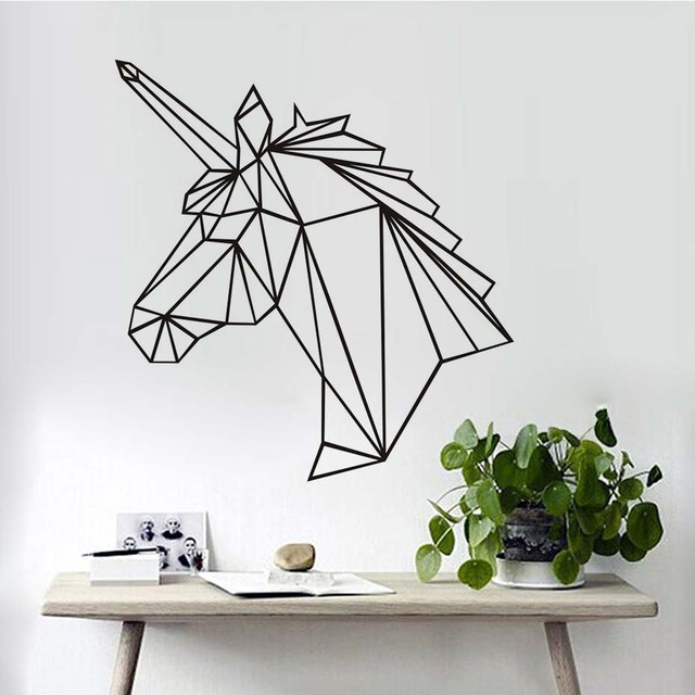 Geometric unicorn horse head wall stickers modern style for Decoration murale nature