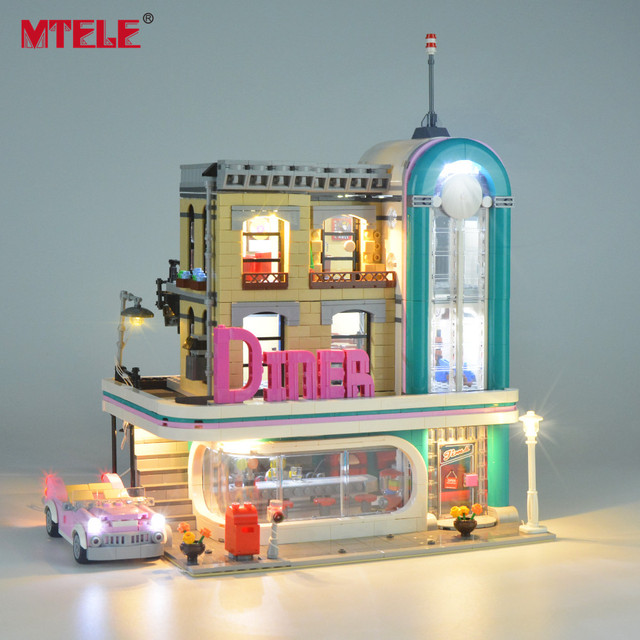MTELE Brand LED Light Up Kit Toy For 10260 Down town Diner Creator City Street Lighting Set Compatile With 15037