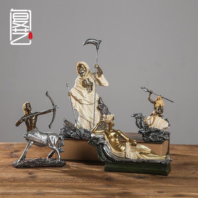 Obra de arte grabado a mano el antiguo mito griego estatua ornamentos creativo Bar cafetería Decoración retro muebles de escritorio-in Figuras y miniaturas from Hogar y Mascotas    2