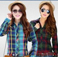 New Brand 2015 Spring And Autumn Women Blouses Plaid Blouses Casual Long Sleeve Women Plaid Shirt