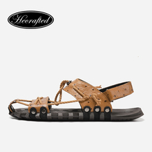 38~47 sandals for men HECRAFTED fashion summer genuine leather male shoes #7556