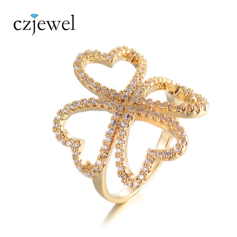 Silver/Gold Color Four Leaf Clover Finger Ring High Quality Leisure Party Big Ring