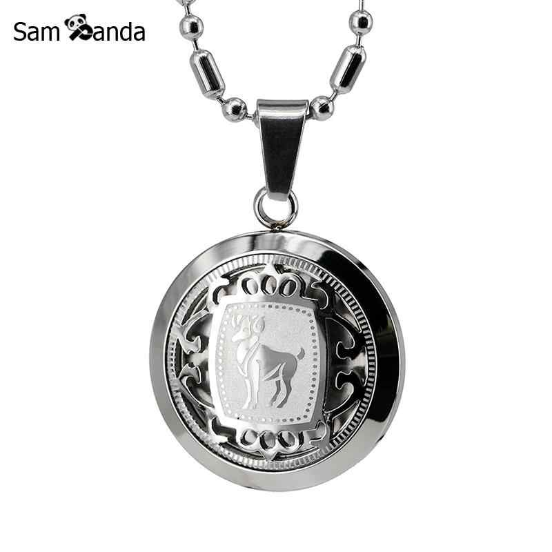 Stainless Steel Constellations Necklace For Women Men Jewelry Inlaid Zodiac Sign Astrology Symbol Medal Cuban Horoscope Tags