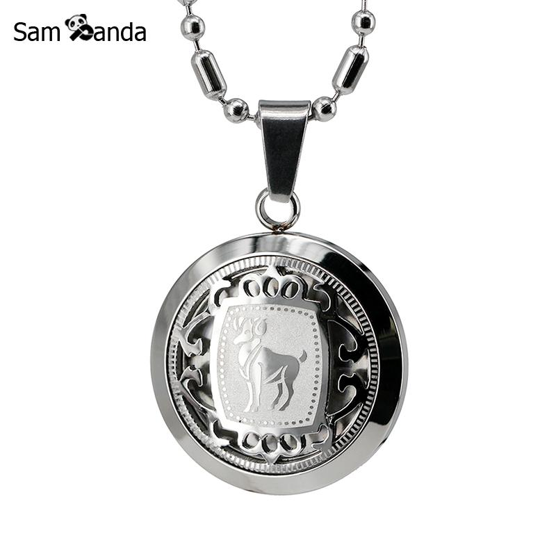 Stainless Steel Constellations Necklace For Women Men Jewelry Inlaid Zodiac Sign Astrology Symbol Medal Cuban Horoscope TagsStainless Steel Constellations Necklace For Women Men Jewelry Inlaid Zodiac Sign Astrology Symbol Medal Cuban Horoscope Tags