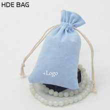 Light Blue Canvas Drawstring Pouch Jewelry Packaging Container Pure Cotton Storage of Ornaments Custom Logo Gift Bag(China)