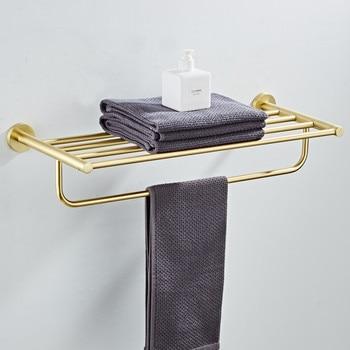 Bath Towel Holder Brushed Gold Wall Mounted 60 cm Fixed Bathroom Towel Rack Holder 304 Stainless Steel Towel Shelf