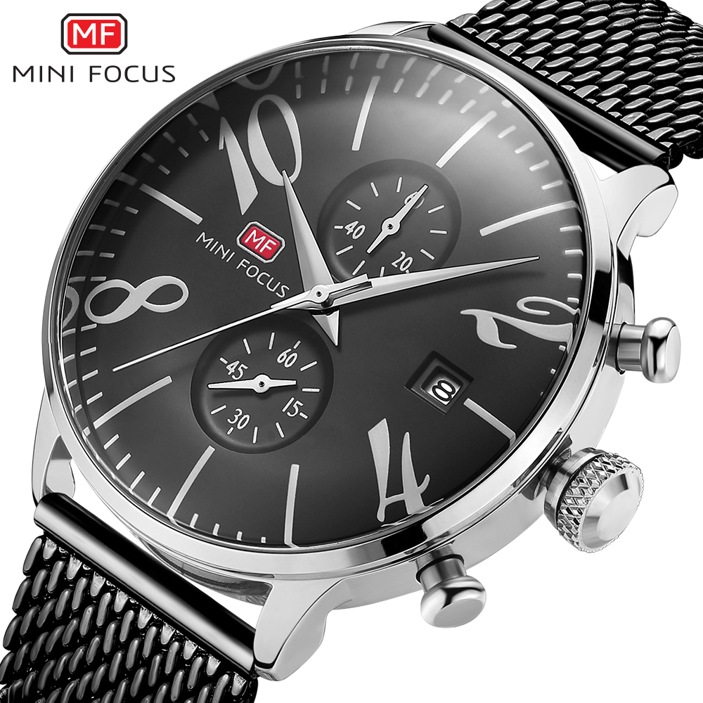 MINIFOCUS Men's Watches are Fashionable Analog Quartz Watch Men Waterproof Stainless Steel Luxury Brand Wristwatch Male Clocks v6 super speed v0231 men s fashionable stainless steel casing analog quartz watch 1 x lr626