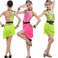 Ragazze Ballroom Latin Dance dress Bambini Costumi da competizione Professionale pattinaggio di figura Per Bambini abiti Abbigliamento concorrenza