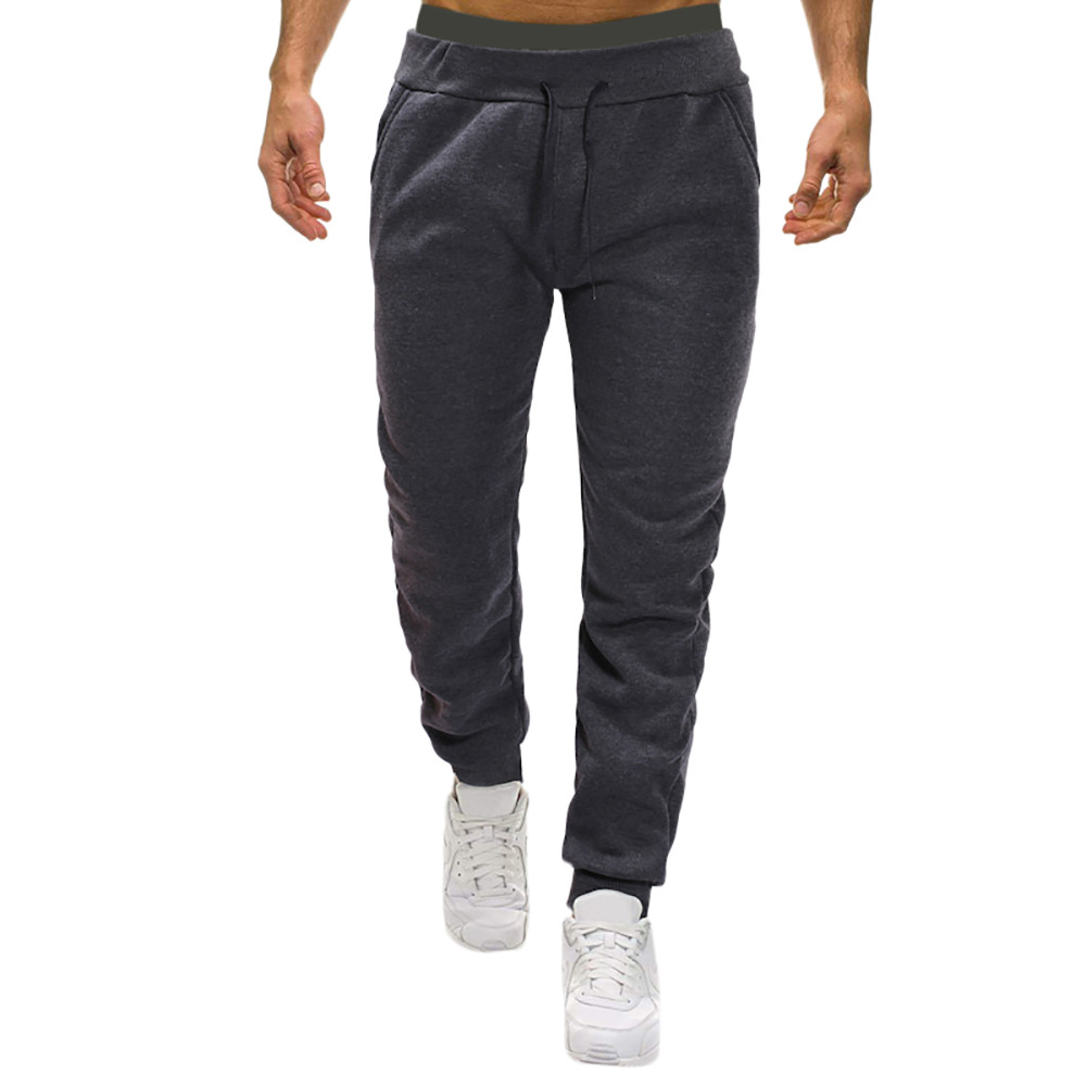 Jogger Pants Trousers Casual Plus-Size Drawstring For Men Solid-Pocket Ankle-Length Baggy