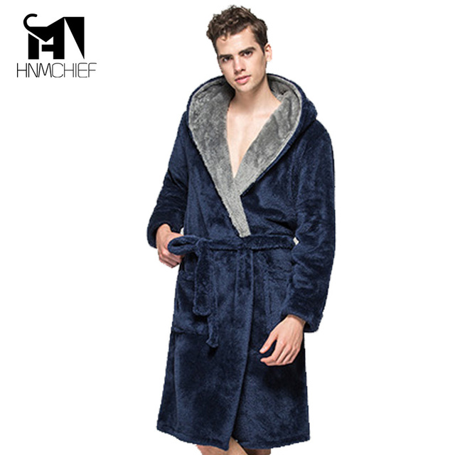 robe badjas met capuchon peignoir homme Dressing room clothes gentlemen's homewear pajamas male sleepwear hooded  thick flannel