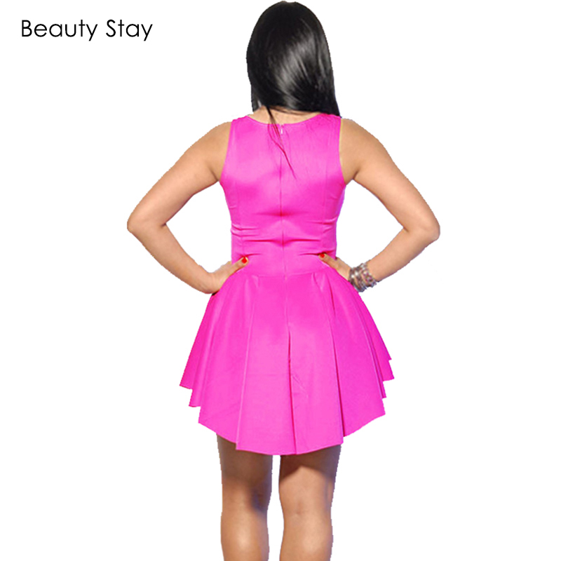 483607b9a7261 US $7.57 29% OFF|BeautyStay 2018 Hot Women Casual Skater Dress Irregular  Sexy Party Cocktail Chiffon Summer Beach Mini Pleated Hi Low Dresses-in ...