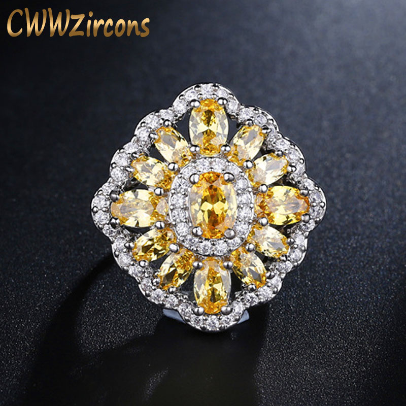 CWWZircons Brand Vintage Big Yellow Crystal Ring For Women Cubic Zirconia Setting Delicate Engagement Wedding Jewelry R099