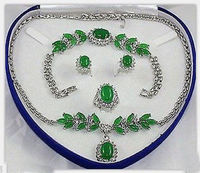 New Style Hot 00757 Charming Set Jewelry Green Jade Necklace Bracelet Earring Ring Natural