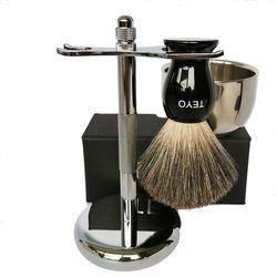 Juego de brochas de afeitar de pelo de tejón puro TEYO Incluye mango de resina cepillo de barba de doble capa cuenco de afeitar soporte cromado para afeitado