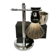 TEYO Pure Badger Hair Shaving Brush Set Include Resin Handle Beard Brush Double Layer Shaving Bowl Chrome Stand for Shave