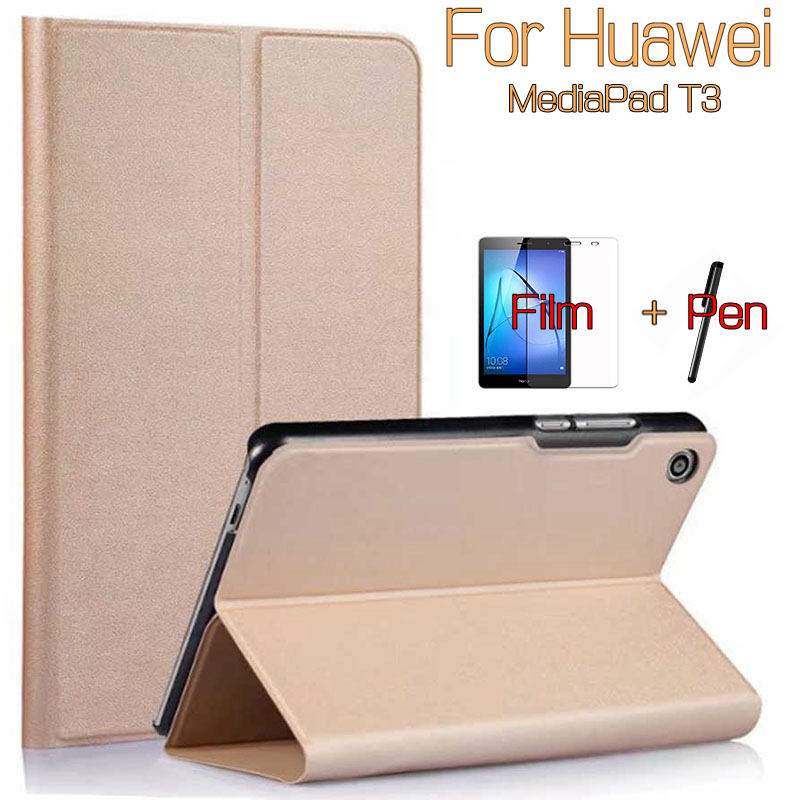 Ultra-thin Stand PU Leather Cover Case for Huawei MediaPad T3 8.0 Honor Play Pad 2 Tablet+Free Screen Protector+Stylus Pen ultra thin smart pu leather cover case stand cover case for 2015 lenovo yoga tab 3 8 850f tablet free film free stylus