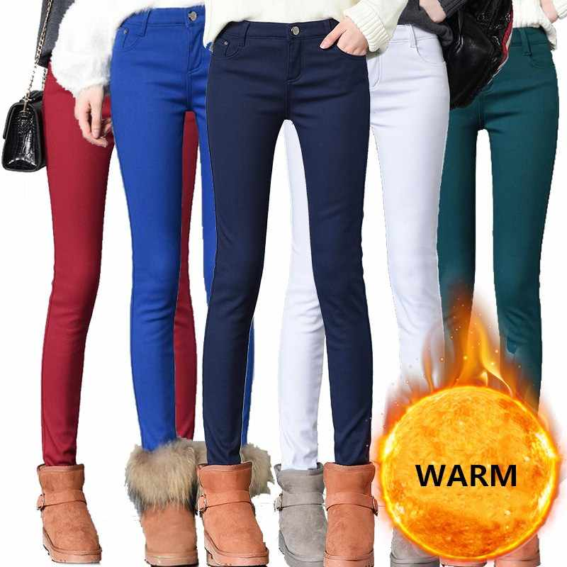 WKOUD 2019 Winter Warm Pants Stretch Skinny Denim Pencil Pants Women Solid Thickening Jeans Pants Plus Size Jean Trousers P9112