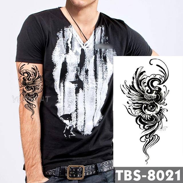 73d6dfa22 12x19cm Waterproof Temporary Tattoos Eyes phoenix Flash Tattoo Sticker  Feather birds Tribal Totem Tatoo DIY Arm