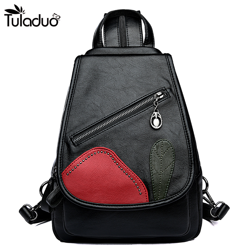 Women Silt Pocket Cover Closer Backpacks Hasp Zipper School Bags For Teenagers Casual Travel Computer Laptop Bag Black Red