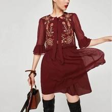 2017 Для женщин Европейский шифон Embroideried Voile ZA полный рукав цветочный узел черное платье Лидер продаж Женская одежда vestidos