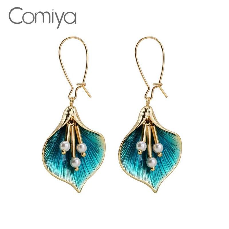 Comiya ยี่ห้อ Dangle ต่างหูผู้หญิงรูปร่างดอกไม้ Elegant เครื่องประดับจากอินเดียโลหะผสมสังกะสี Vintage Long Drop ต่...