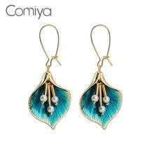 Comiya Marke Baumeln Ohrring Für Frauen Blume Form Elegante Schmuck Aus Indien Zink-legierung Vintage Lange Tropfen Ohrringe Aliexpress