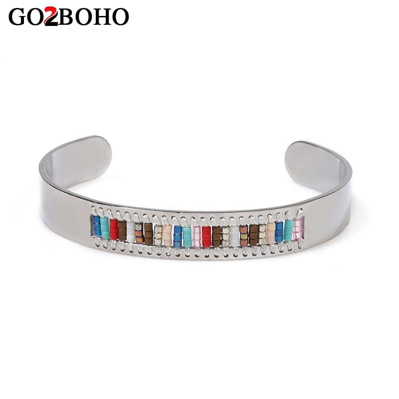 Go2boho Dropshipping Wholesalers MIYUKI Bracelet Stainless Steel Bracelets Seed Beads Rainbow Women Cuff Pulseira Weave Jewelry
