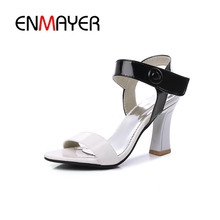 ENMAYER 2018 New Fashion Spring Summer Mixed Colors Women Sandals Ladies Hoof toe High Heels Shoes Woman Female CR146