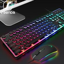 SeenDa LED Backlight Gaming Keyboard Mouse Set Bahasa Rusia Kabel Set Keyboard dan Mouse untuk PC Laptop Gamer Desain Ergonomis(China)