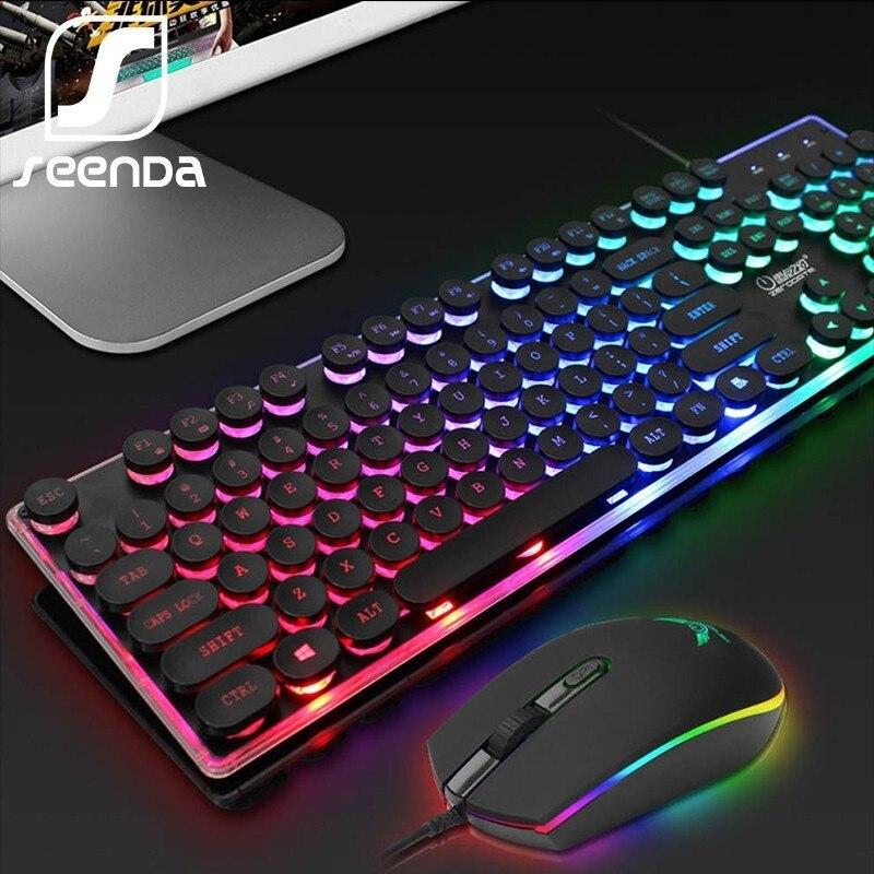 SeenDa, juego de teclado con retroiluminación LED para juegos, juego de ratón y teclado con cable inglés ruso para PC, portátil, Gamer, diseño ergonómico Versión Global Xiaomi negro tiburón 2 Pro 8GB 128GB juegos Smartphone Snapdragon 855 Plus de 6,39