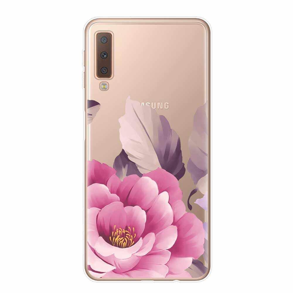 RUIXKJ Flor Dos Desenhos Animados Tampa Do Telefone Para O Coque Samsung Galaxy A7 A8 A6 A8 Plus 2018 A10 A20 A30 A40 A50 A70 Soft Case TPU Capinha
