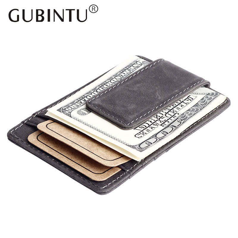 2017 Vintage Retro Style Genuine Leather Man Money Clip Male Magnet Clip Wallet With Card Bit Slots Coin Pocket for Men