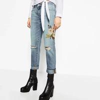 Fashion Women Floral Embroidery Jean Denim Pant Ripped Zipper Button Pockets Women Skinny Jeans Light Blue Pant XCJP618