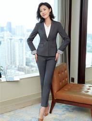 Высокое качество Формальные Дамы Серый Блейзер женские деловые костюмы со штанами и курткой наборы Рабочая одежда OL стили