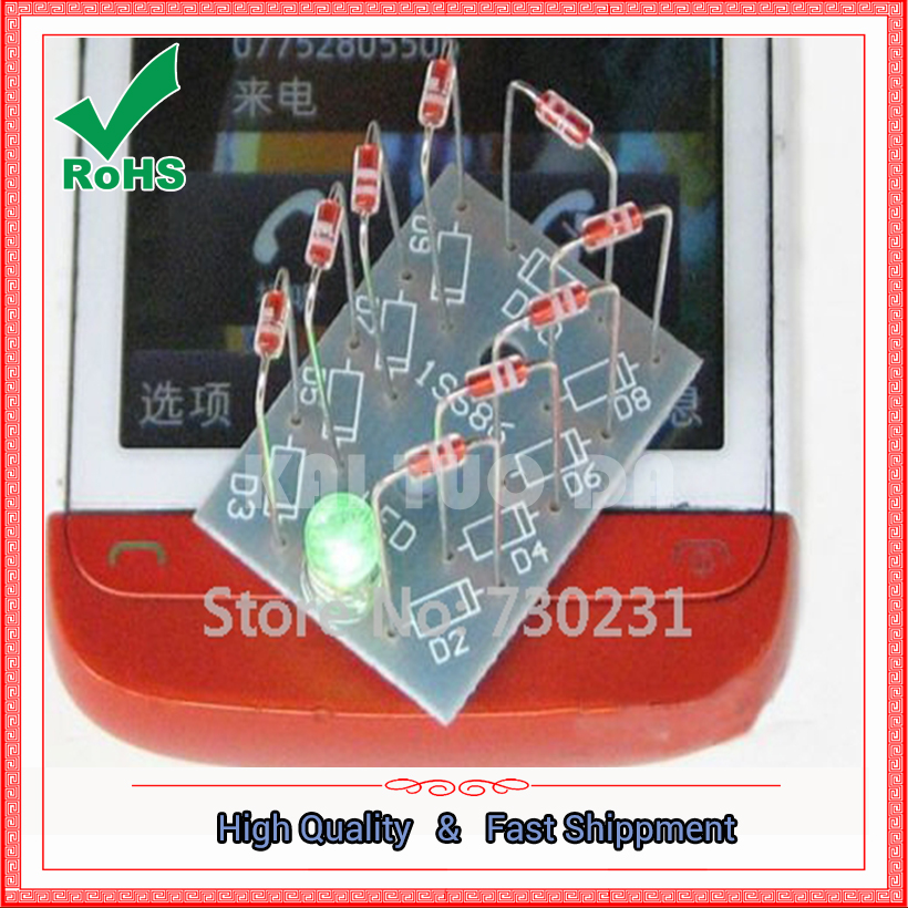 Free Shipping NO Need Power Mobile Phone Signal Flash Light Radiation Power DIY Kit Cheaper module board