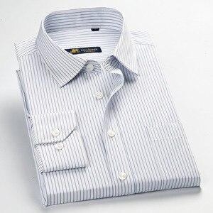 Image 2 - عالية الجودة جديد الصيف/الربيع حجم كبير S ~ 5xl طويلة الأكمام مخطط الرجال فستان قمصان منتظم صالح غير الحديد سهلة الرعاية