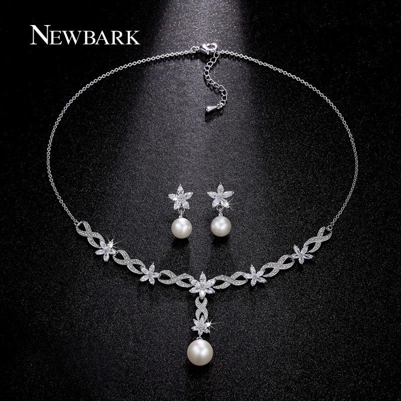 font b NEWBARK b font Simulated Pearl Jewelry Sets Parure Bijoux Femme Flower Jewelry Set