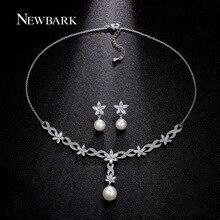 NEWBARK Brides Simulated Pearl Jewelry Sets Jewellery Pendant Necklace 1 Pair Earrings Flower Crystal Zircon Woman
