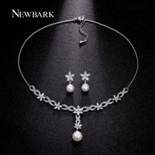 NEWBARK Imitation Pearl Jewelry Sets Women Necklace Bracelet Earrings Paved Clear Crystal Flower Engagement Bridal Wedding