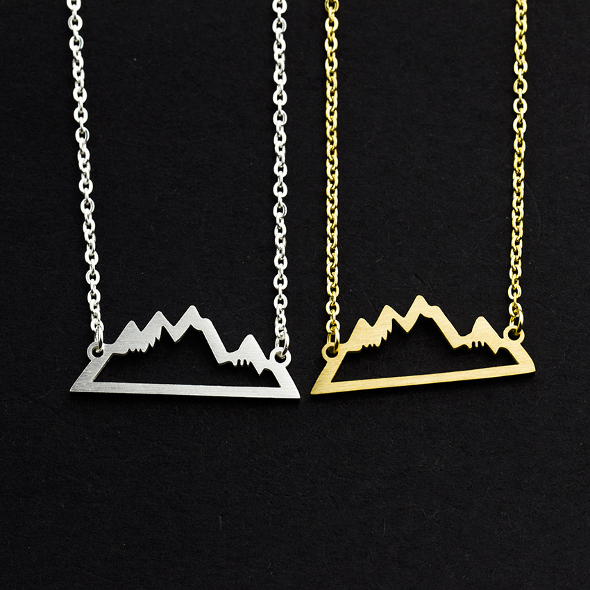 Minimalism Mountain Necklaces Women's Jewelry Collier Femme 2018 Stainless Steel Gold Color Chain Friendship Gifts <font><b>Bff</b></font> <font><b>Ketting</b></font> image