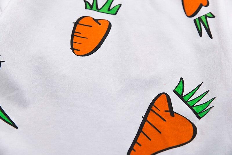 Детский комплект летней одежды для мальчиков и девочек, топ с принтом редиски + темно-синие шорты, Детская Повседневная рубашка с милым прин...
