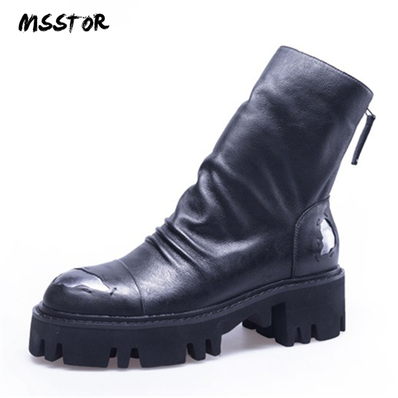 5ba33beea65e MSSTOR 2018 New Mixed Colors Fashion Martin Boots Autumn Winter Black Boots  Women Zipper Round Toe Leather Ankle Boots Women