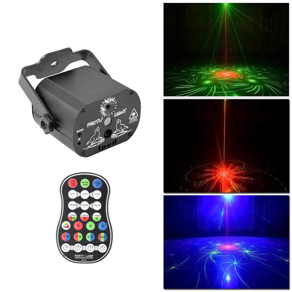 Işıklar ve Aydınlatma'ten Sahne Aydınlatması Efekti'de 60 desenler RGB LED Lazer Işıkları Projektör Sahne Işık Taşınabilir Etkisi Lambası Müzik Noel Partisi Disko Kapalı Işık title=