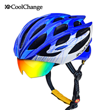 2016 HOT! Bicycle Cycling Helmet EPS+PC Material Ultralight Mountain Bike Helmet 32 Air Vents With 3 Lenses SIZE:55-64cm