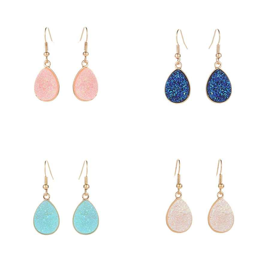 2018 NEW Fashion Drusy Drop Earrings Cute Gold Earrings For Women Small Druzy drop Earring Minimalist Jewelry Accessories gift