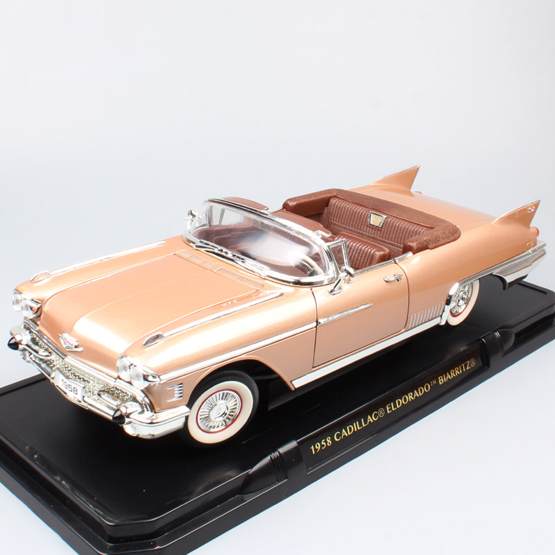 Children 1 18 Scale luxury Vintage GM 1958 Cadillac Eldorado Fleetwood Biarrotz convertible Diecasts Vehicles Cars